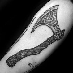 Guy With Axe Tattoo Design On Arm