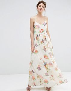 Image 1 of ASOS Strappy Pleated Maxi Dress in Floral Print