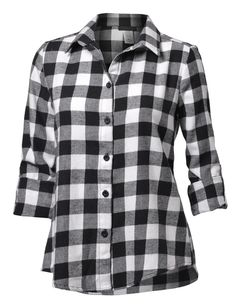 LE3NO Womens Boyfriend Plaid Flannel Shirt