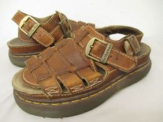 763c83fb2089 DR. MARTENS ENGLAND BROWN LEATHER SLIP ON STRAPPY SANDALS 8 US - 7 UK  womens 064  DrMartens  Strappy