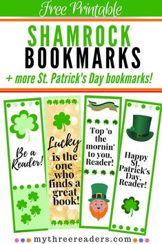Free Printable Shamrock Bookmarks for your beginning readers and your young bookworms! Check out this diy St. Patrick's Day craft plus for free printable bookmarks! Free Printable Bookmarks, Bookmarks Kids, Free Printables, Holiday Activities For Kids, Gift Cards Money, St Patrick's Day Crafts, Student Gifts, Book Worms, Struggling Readers