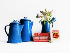 Set of 3 Enamel Pitchers / Blue Speckled by ChapsAndRascal on Etsy, $60.00