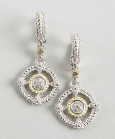 Judith Ripka : gold and white sapphire 'Garland' wreath earrings