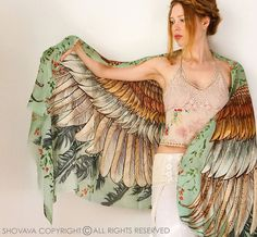 Silk Scarf Hand Painted Scarf Wings scarf Bohemian by Shovava
