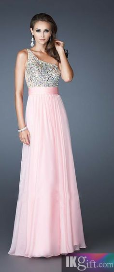 Fashion Natural One-Shoulder Chiffon Pink Sleeveless Prom Dress Prom Dresses def765f02281