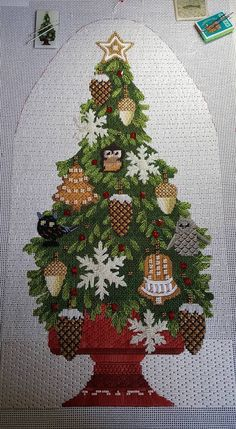 Melissa Shirley design, Tony Minieri stitch guide with tree changes suggested by Colleen Church of The Needle Works.