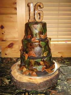 Camouflage cake.  WASC cake with oreo mousse filling.  Butter cream covered with fondant.  Hand painted for camo effect.
