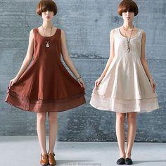 Womens Casual Fashion Sleeveless Cotton Linen Loose Sundress Party Shirt Dress
