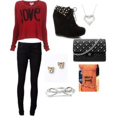 """Valentines Outfit"" by tyairaautumn on Polyvore"