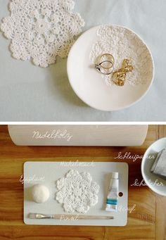 A 'how to' on making a pretty plate with an antique feel using clay and a doily. Nice alternative to a wedding ring cushion, or a place to put your ring when you're doing the dishes... such a romantic thought ;)