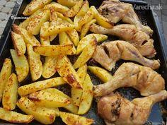 Pečené cibuľovo-cesnakové zemiaky s kuracími stehnami a domácou tatárkou (fotorecept) Ale, Foodies, Bacon, Treats, Breakfast, Recipes, Sweet Like Candy, Breakfast Cafe, Beer