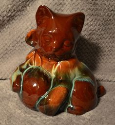 """1 of 4: Vintage Rare CCC Pottery Canadian Ceramic Craft  Fire Glaze 6"""" Kitten Ball Wool"""