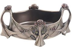 Art Nouveau Bronze Charles Mackintosh Rose Maiden Vanity Trinket Box