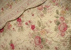 Romantic Chic Shabby Cottage Roses 100 percent Cotton Quilt and Shams Set with Decorative Pillows.  The bedding set features scalloped edges and is reversible to a petite roses pattern.  Made of 100% cotton cover and fill.