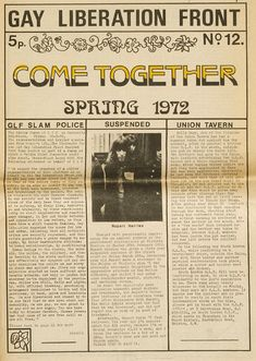 Gay Liberation Front - Come Together, Spring 1972
