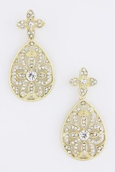 Vines of Jewels - Gold-tone Floral Teardrop Crystal Earrings, $14.00 (http://www.vinesofjewels.com/gold-tone-floral-teardrop-crystal-earrings/) vinesofjewels.com bride to be Glamorous!