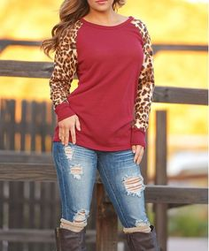 Wine Red Leopard Print Round Neck Casual T-Shirt