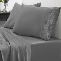 NEW King Size 4-Piece 1500 Thread Count Egyptian Quality Bed Sheet Set, Gray