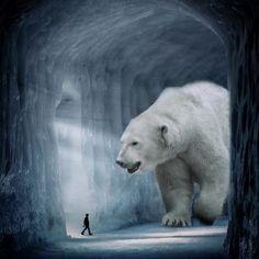 Cet artiste digital imagine un monde avec des animaux géants comme guides spirituels Giant Animals, Big Animals, Surreal Photos, Surreal Art, Art D'ours, New Background Images, Surrealism Photography, Foto Art, Bear Art
