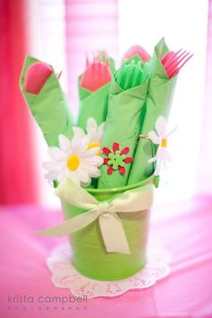 I love this and did this for my pink/green ladybug theme and put it in a pink flower pot that I got from Ikea!