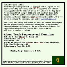 "Contents from back of jewel case for ""Ireland by Land & Sea"" song album with Mike O'Laughlin, at Irish Roots Cafe"