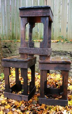 Pallet Wood Barstool Made to Order by UpcycledWoodworks on Etsy, $75.00