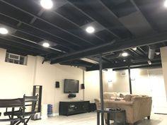 Spray Paint Basement Ceiling Black Basement In 2019 Basement