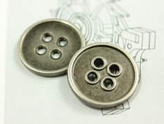 4 Hole Metal Buttons. 0.71 inch. 10 in a set by Lyanwood, $5.00