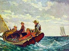 Breezing Up- Winslow Homer. Year: 1876. 20inch by 30 inch poster print on…
