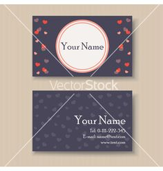 Business card with hearts vector by ARNICA on VectorStock®
