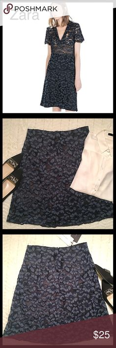 """Zara Floral Lace Skirt A beautiful lace skirt from Zara. New with tags. Charcoal gray lace with black lining. Exposed zipper in back. Size large. 23"""" length. Zara Skirts"""
