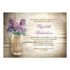 country rustic mason jar bridal shower invitations personalized with your initials.  #purplewedding #rustic #purple http://www.zazzle.com/country_rustic_mason_jar_bridal_shower_invitations-161645149976790177?rf=238505586582342524