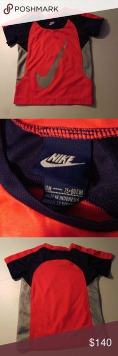 Toddler boy's Nike shirt Boy's toddler Nike short sleeve shirt, size 12MO  Orange, gray and navy blue in color Nike Shirts & Tops Tees - Short Sleeve