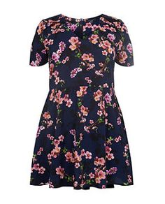Blue Pattern (Blue) Inspire Navy V Neck Floral Print Skater Dress  | 320301049 | New Look