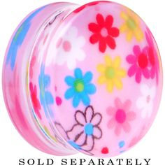 26mm Acrylic Pink Multicolored Flower Power Saddle Plug | Body Candy Body Jewelry #bodycandy