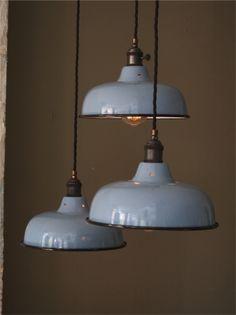 abat jour emaille lampe industrielle bleu ciel