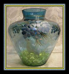 2008 Fenton Glass Indigo Blue Unusual Handpainted Vase Set