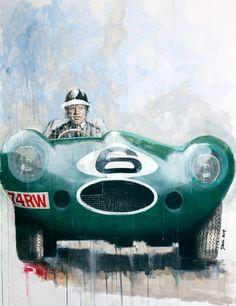 Hawthorn au volant de sa #Jaguar D-Type, peinture de l'artiste anglais Dan Gwinett. Toutes les infos sur News d'Anciennes : http://newsdanciennes.com/2015/02/14/morceaux-darts-du-samedi-dan-gwinett/