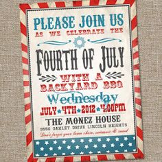 Fourth of July party printable invitation