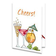 Schöne Muttertagskarte mit Cocktailglas Motiven auf einem weißen Hintergrund. Auf der Innenseite ist der komplette untere Rand mit verschiedenen Cocktailgläsern gestaltet. Die weiße Fläche kann mit einem eigenen Text beschriftet werden. Einfach den Entwurf speichern und schon können Sie bestellen.
