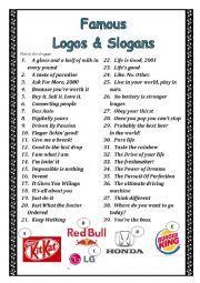 Writing advertising slogans worksheets logos