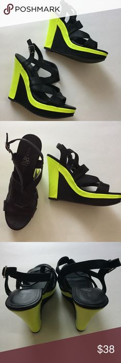 Black and Lime Rock & Republic Wedges Stylish Rock & Republic wedges. Black with lime green detailing. These have been worn but are in great condition. One minor mark on the inside of the shoe shown in the last photo. Rock & Republic Shoes Wedges