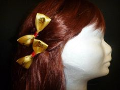 Gold Reindeer Print Christmas Bows - Top End Millinery
