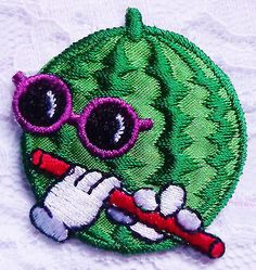Iron-On-Patch-Applique-Melon-with-Flute