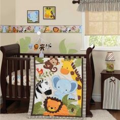 Jungle Safari Animals Neutral Baby Boy/girl 3p Cheap Monkey Nursery Bedding Set