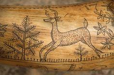 Fabulous Beasts, Antler Jewelry, Photo Supplies, Powder Horn, Bone Carving, Mountain Man, Antlers, Horns, Folk Art