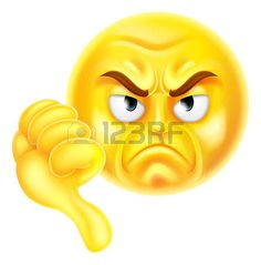 A cartoon emoji icon looking very disapproving or angry with his thumb down, he doesnt like it photo