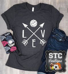 LOVE Volleyball with arrows. Enjoy the game in this ultra comfy and cute volleyball tee. Design is done in a distressed look, perfect for game day, or any day! Matte Design on a Heather Grey Bella + Canvas Unisex tshirt; shown here in Heather Grey the most popular color in the shop.