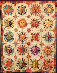 """This quilt, painstakingly hand stitched by Lester Raymer, is often featured as one of the """"suns"""" between story segments on CBS Sunday Morning. Sampler Quilts, Star Quilts, Easy Quilts, Good Day Sunshine, Sun Designs, Sun Art, Stars And Moon, Sun Moon, Applique Quilts"""