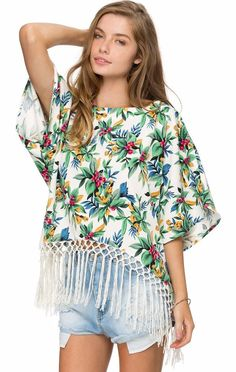 Fringed Floral Blouse